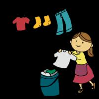 洗濯物を干す女性のフリーイラスト