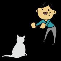 ネコに近づいて欲しくない女性のフリーイラスト