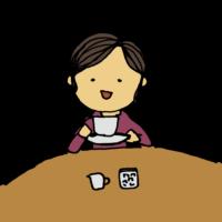 手書き風,人物,紅茶,コーヒー,珈琲,飲む,飲み物,カフェ,お茶,お茶会,ミルク,砂糖,丸テーブル,上品,ご婦人,貴婦人,美魔女,品がある,余裕がある,余裕