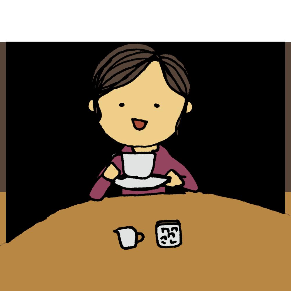 紅茶を飲む上品な女性のフリーイラスト
