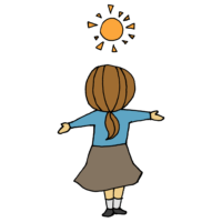 日光浴をする女性のフリーイラスト