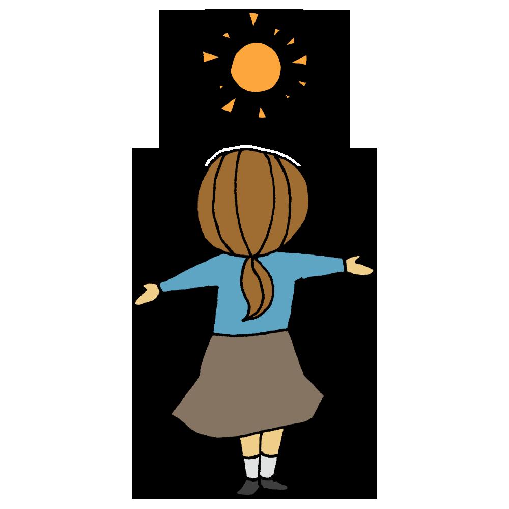 手書き風,日光浴,日光,太陽,タイヨウ,自然,光,日の光,陽の光,浴びる,あびる,人物,女性,たいよう,後姿,後ろ姿,背中