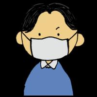 手書き風,人物,男性,咳エチケット,咳,マスク,医療,エチケット,マナー,せき,セキ