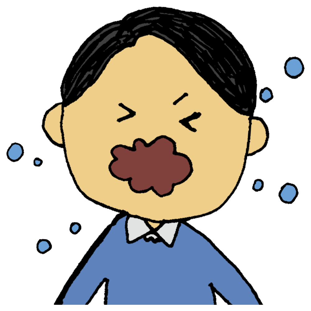 咳エチケット悪い事例何もせずにせきやくしゃみをするのフリーイラスト