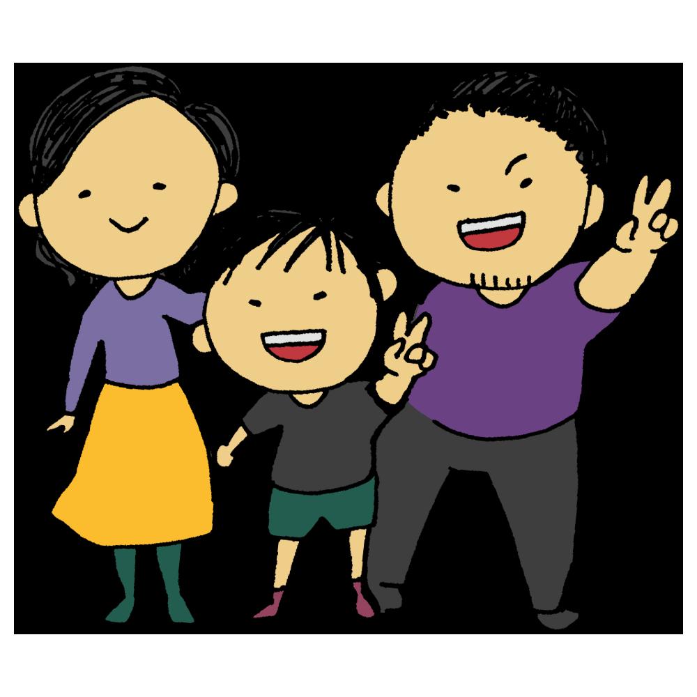 手書き風,人物,家族,3人家族,核家族,両親,息子,そっくり,似る,将来,未来,お父さん,お母さん,男性,女性,男の子,ファミリー,仲良し,小学生
