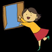 手書き風,人物,換気,女性,ウイルス,対策,コロナウイルス,予防,空気,入れ替え,かんき,医療,医学,外,外気,澄む,綺麗,呼吸,窓,開ける,オープン