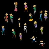 手書き風,人物,人,医療,コロナ,コロナウィルス,コロナウイルス,コロナウイルス対策,感染,対策,予防,三密,密,多数,集まる,密集,場所,気をつける,危険,禁止,大勢,たくさん,大人数,大群