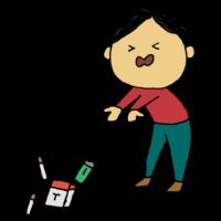 手書き風,人物,男性,禁煙,たばこ,煙草,タバコ,捨てる,辞める,やめる,決断,我慢,健康,医療,禁煙外来,医者,きんえん,吸わない,耐える,辛い,悲しい,中毒,ニコチン,タール
