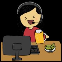 web飲み会をする女性のフリーイラスト
