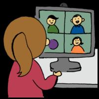 手書き風,人物,女性,WEB,web,オンライン,PC,パソコン,ビデオ,繋がる,自粛,話す,トーク,電化製品,カメラ,マイク,仕事,働き方,働く,自宅,在宅ワーク,在宅,家,OL,働く女性,ビデオ会議,web会議,会議