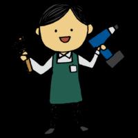 手書き風,人物,男性,店員,店員さん,働く,DIY,仕事,お店,ショッピング,買い物,お買い物,買物,作る,ガーデニング,ドリル,ハンマー,とんかち,接客,接客業,アルバイト,パート,社員,正社員,エプロン,バッテリー