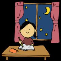 手書き風,人物,女の子,勉強,宿題,学ぶ,自主学習,学習,予習,復習,夜,夜中,テスト勉強,一夜漬け,部屋,自室,カーテン,星,月,夜空,学ぶ,学生,中学生,高校生,女子中学生,女子高校生,女子大学生,大学生