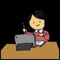 手書き風,女性,女子学生,女の子,勉強,宿題,学ぶ,自宅学習,学習,勤勉,部屋,家,ハウス,タブレット,電子機器,電化製品,中学生,高校生,大学生,女子中学生,女子高校生,女子大学生