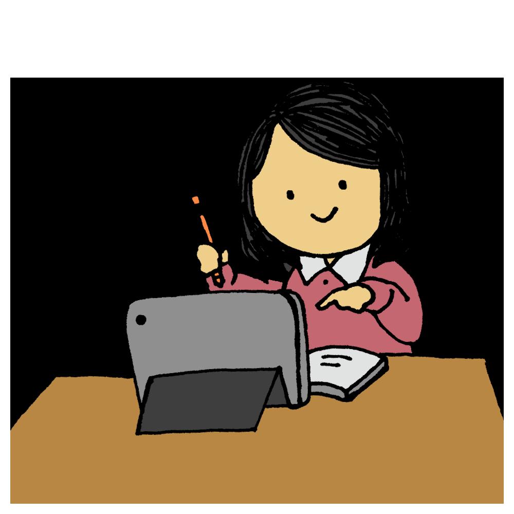 タブレットを使って勉強する女子学生のフリーイラスト