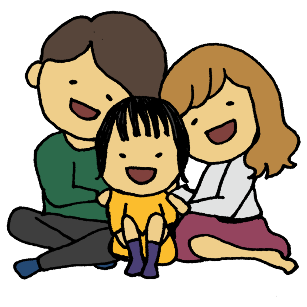 手書き風,人物,男性,女性,女の子,パパ,ママ,お母さん,お父さん,父,母,娘,子供,幼い,家族,仲良し,座る,ファミリー,家族写真,一家,楽しい,幸せ,笑顔,核家族,少子化,一人娘,目に入れてもいたくない,可愛い,愛しい,大切,宝,宝物