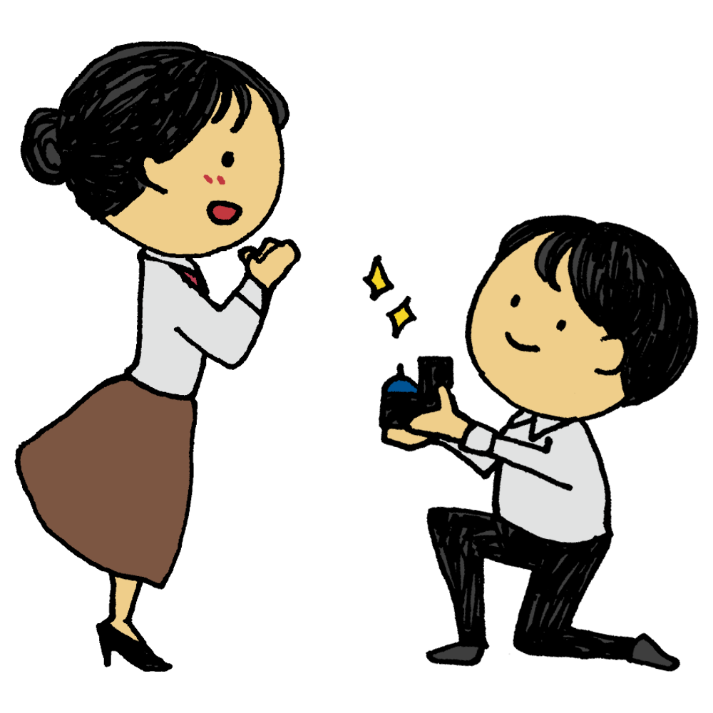 手書き風,人物,男性,女性,プロポーズ,婚約,結婚,婚約指輪,結婚指輪,カップル,夫婦,指輪,愛してる,ラブ,ラブラブ,幸せ,嬉しい,喜ぶ,恋愛,大恋愛,好き,愛,恋,結婚前