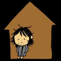 手書き風,人物,男性,部屋,家,引きこもり,ひきこもり,ひきこもる,引き籠る,籠る,篭る,ヒッキー,ニート,働かない,外に出ない,外出しない,実家,自宅,ずっと家にいる,怖い,将来の不安,不安