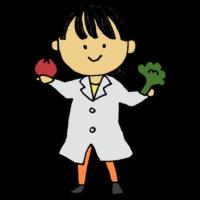 手書き風,人物,女性,仕事,働く,白衣,野菜,管理栄養士,国家資格,食事,健康,専門的,知識,技術,栄養指導,給食管理,栄養管理,栄養士,食べる