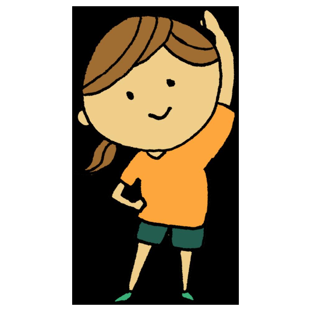 手書き風,人物,ストレッチ,準備体操,体育,ラジオ体操,わき腹,伸ばす,手を上げる,体操,スポーツ,運動,女性,横,伸び,のびーる