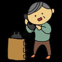 手書き風,人物,不安,詐欺,オレオレ詐欺,ひっかかる,老人,年寄り,お年寄り,高齢者,男性,おじいちゃん,孫,危険,犯罪,被害者,詐欺被害,電話,家電,電化製品
