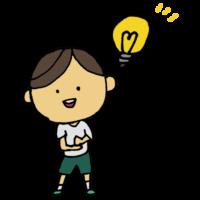 手書き風,人物,男の子,解決,理解,納得,なるほど,わかった,電球,手を叩く,考えた,答え,結論,回答