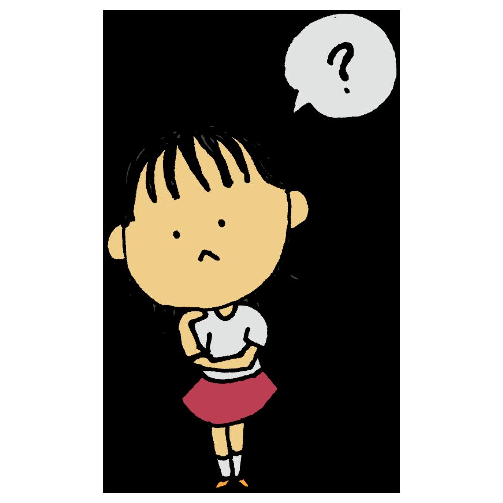 手書き風,人物,女の子,どうして,なぜ,はてな,クエスチョンマーク,不思議,問題,疑問,難しい,首をかしげる,?