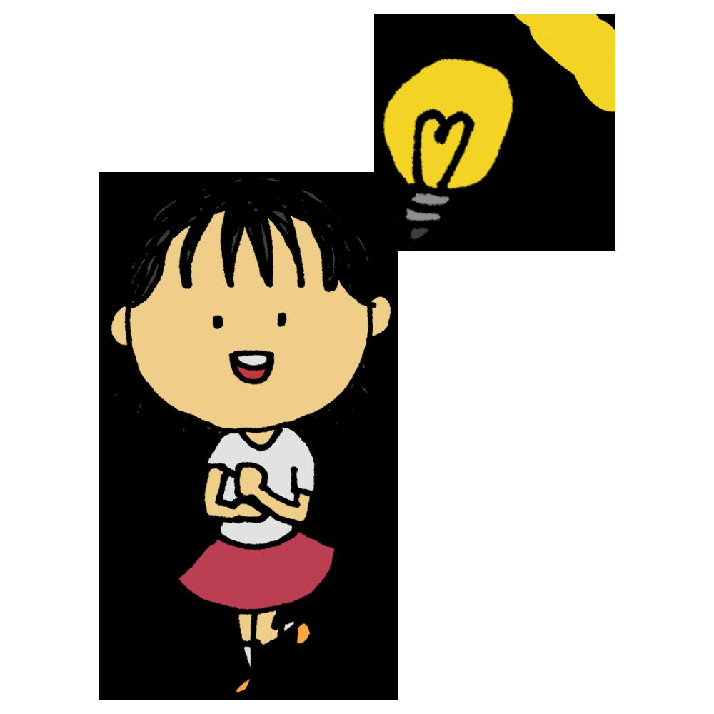 手書き風,人物,女の子,解決,理解,納得,なるほど,わかった,電球,手を叩く,考えた,答え,結論,回答