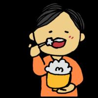 手書き風,人物,食べ物,男性,ご飯,白米,ごはん,茶碗,食器,箸,右利き,利き手,食べる,美味しい,嚙む,もぐもぐ,咀嚼,食事,栄養,バランス,白飯,メシ,おいしい,幸せ,笑顔,嬉しい