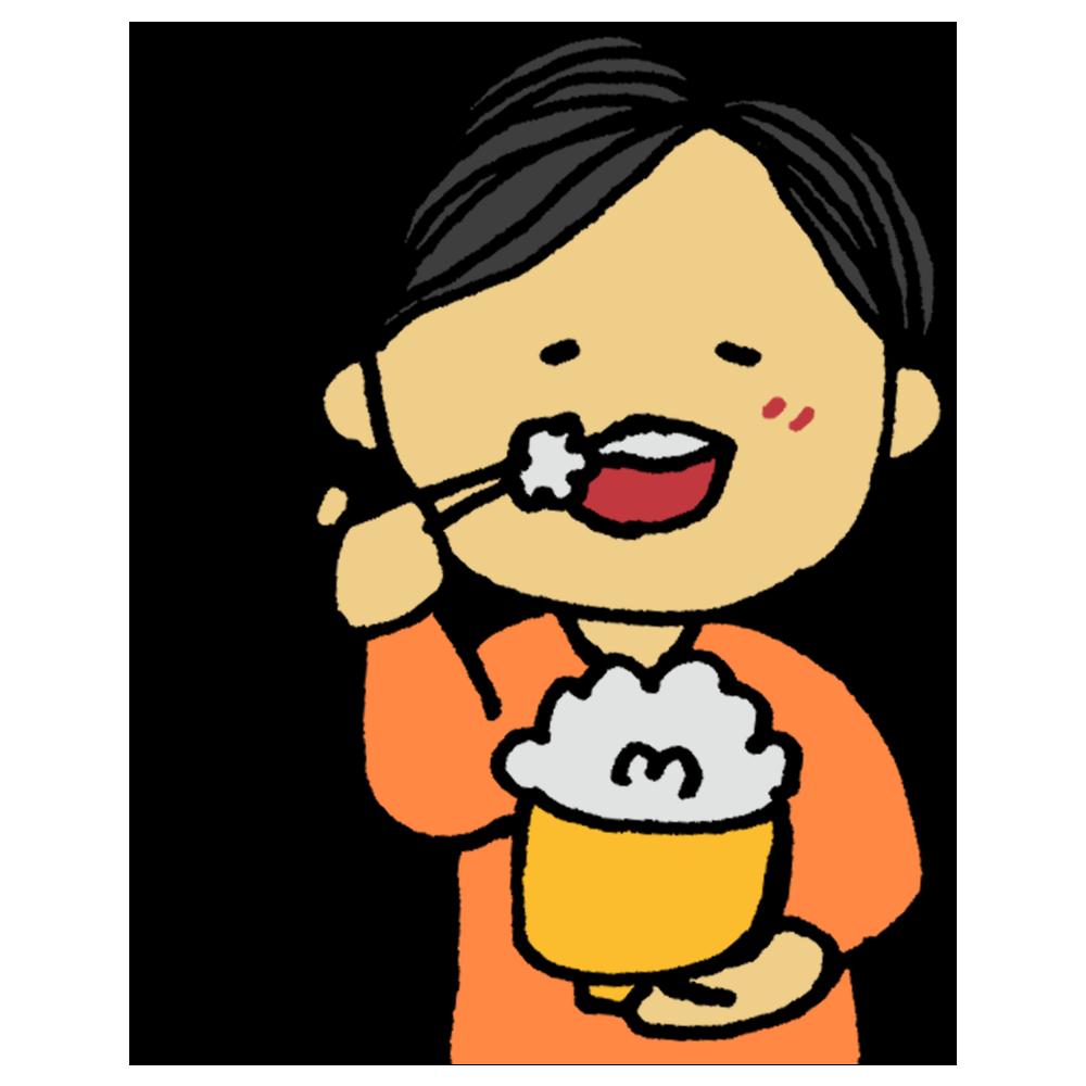 美味しそうに白米を食べる男性のフリーイラスト
