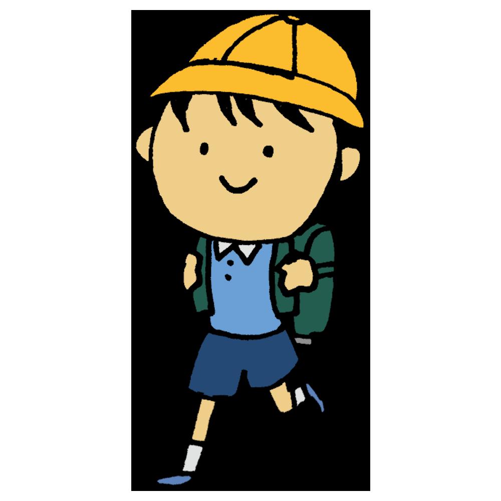 手書き風,人物,学校,通う,登下校,登校,下校,小学生,小学校,ランドセル,歩く,帽子,学生,男の子