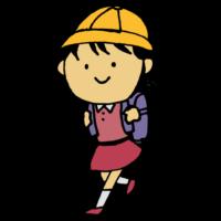 手書き風,人物,学校,通う,登下校,登校,下校,小学生,小学校,ランドセル,歩く,帽子,学生,女の子