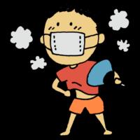 手書き風,人物,男の子,暑い,蒸れる,マスク,夏,6月,7月,8月,ハフハフ,ホクホク,あつい,暑がり,うちわ,仰ぐ,ウイルス対策,ウイルス