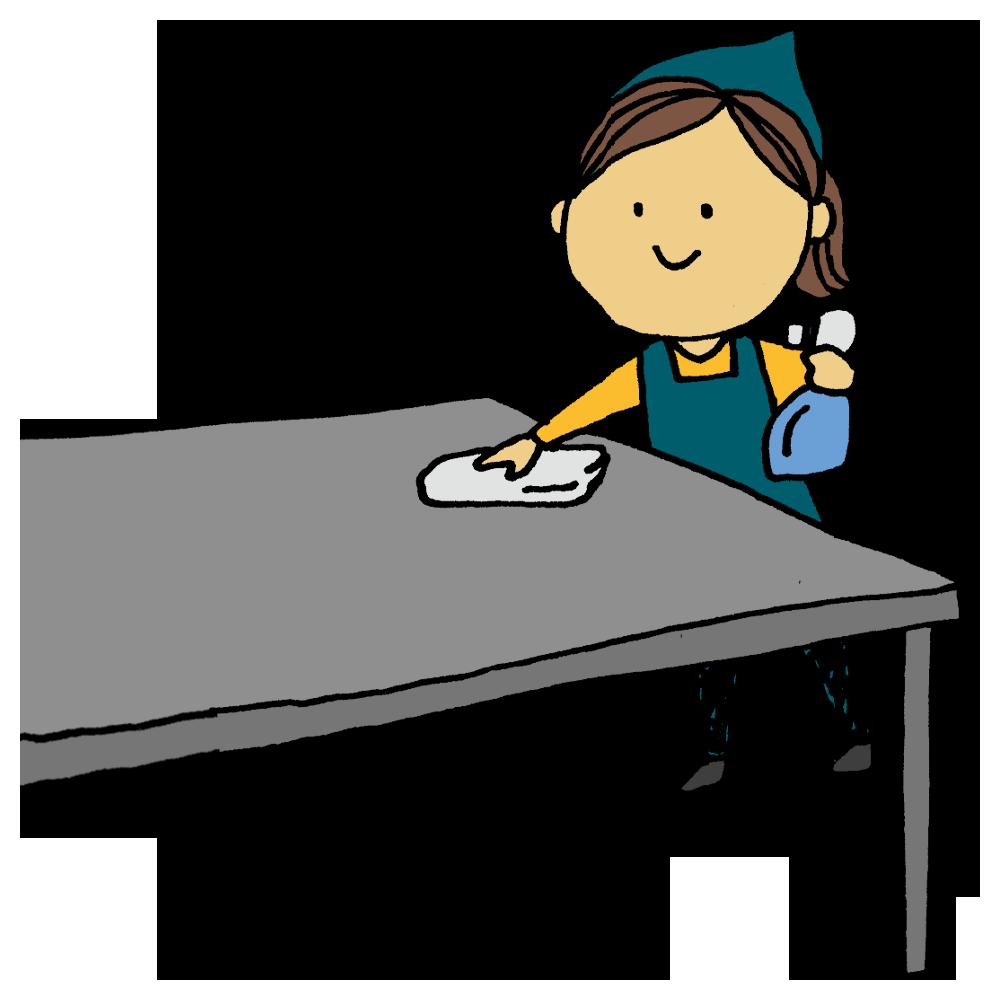 除菌スプレーでテーブルを拭く女性のフリーイラスト