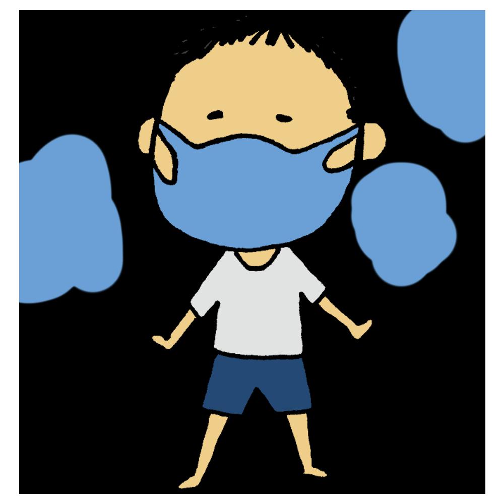 手書き風,人物,ひんやり,涼しい,マスク,男の子,接触冷感,冷感,快適,夏,気持ちいい,8月,9月,医療,蒸れない,ムレない
