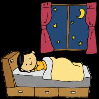 手書き風,人物,寝る,部屋,ベッド,インテリア,家具,寝具,睡眠,おやすみ,おやすみなさい,熟睡,安眠,爆睡,夜,寝ている,眠る,部屋,自室,寝室,窓,夜空,月,カーテン