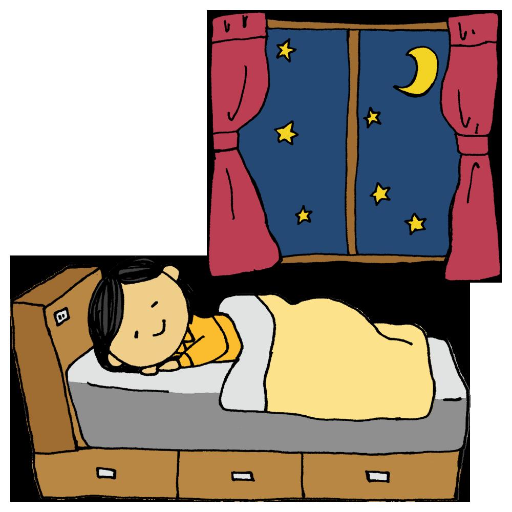 窓とベッドに寝る女性のフリーイラスト