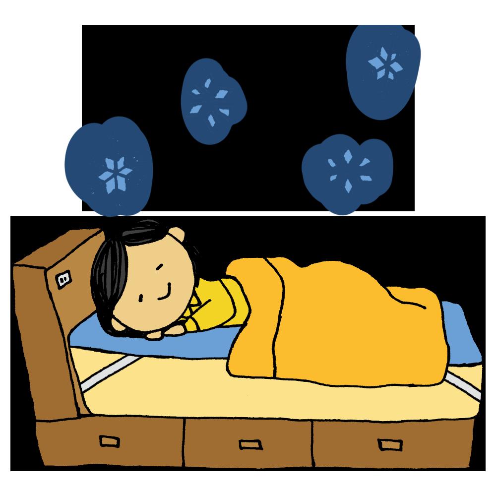 ひんやりマットを敷いて寝る女性のフリーイラスト