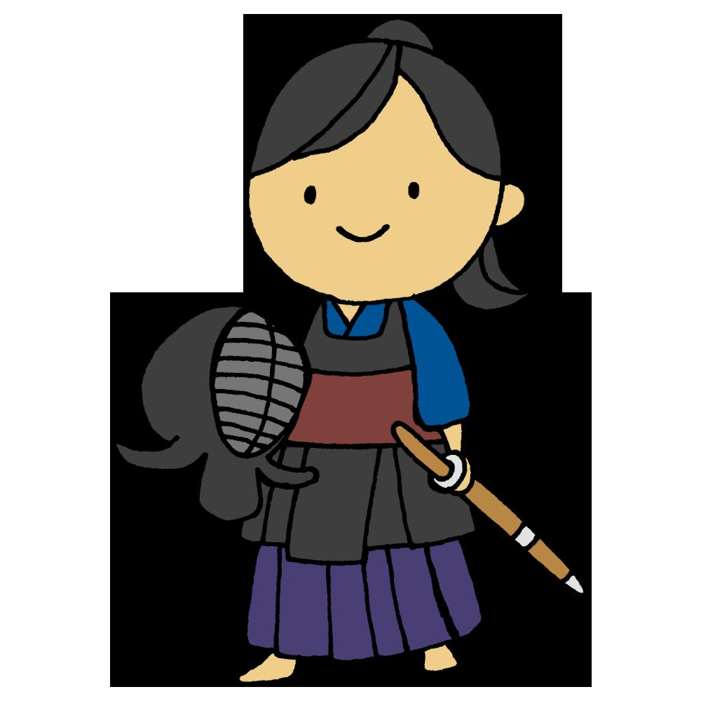 剣道着を着た女の子のフリーイラスト