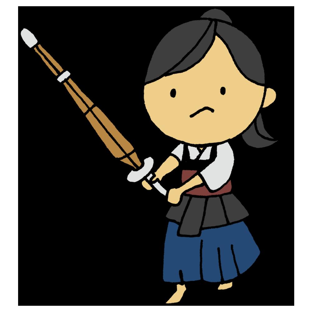 剣道の構えをする女の子のフリーイラスト