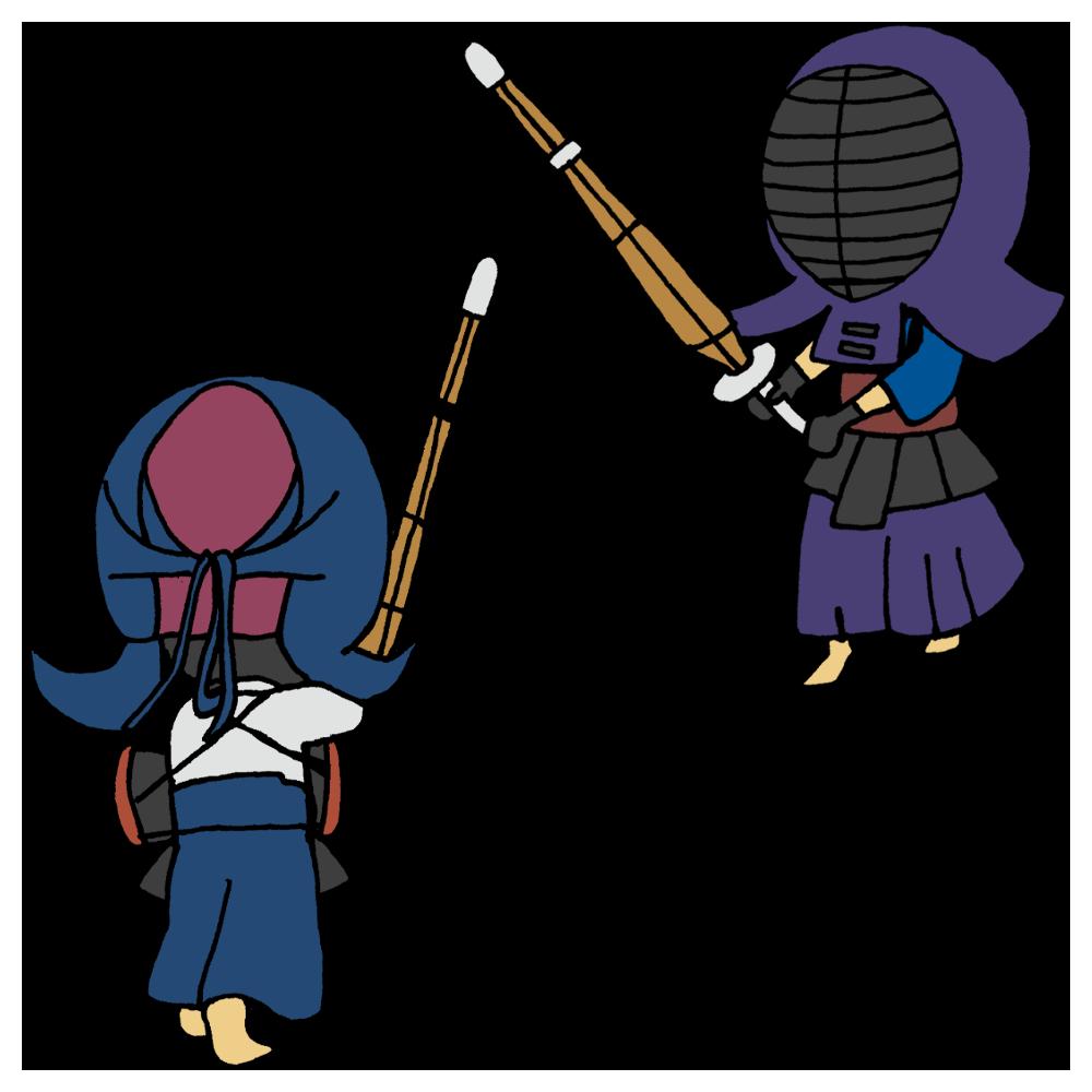 剣道の試合をする男の子のフリーイラスト