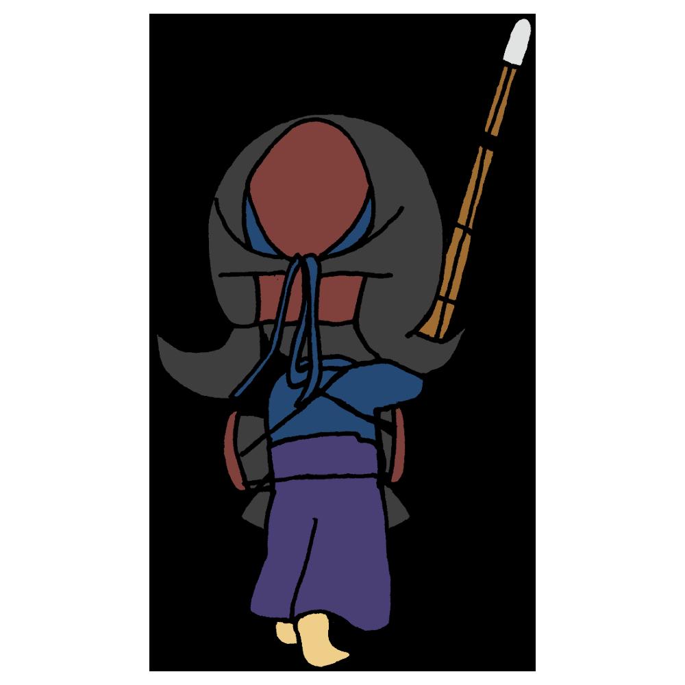 剣道をする後ろ姿の男の子のフリーイラスト