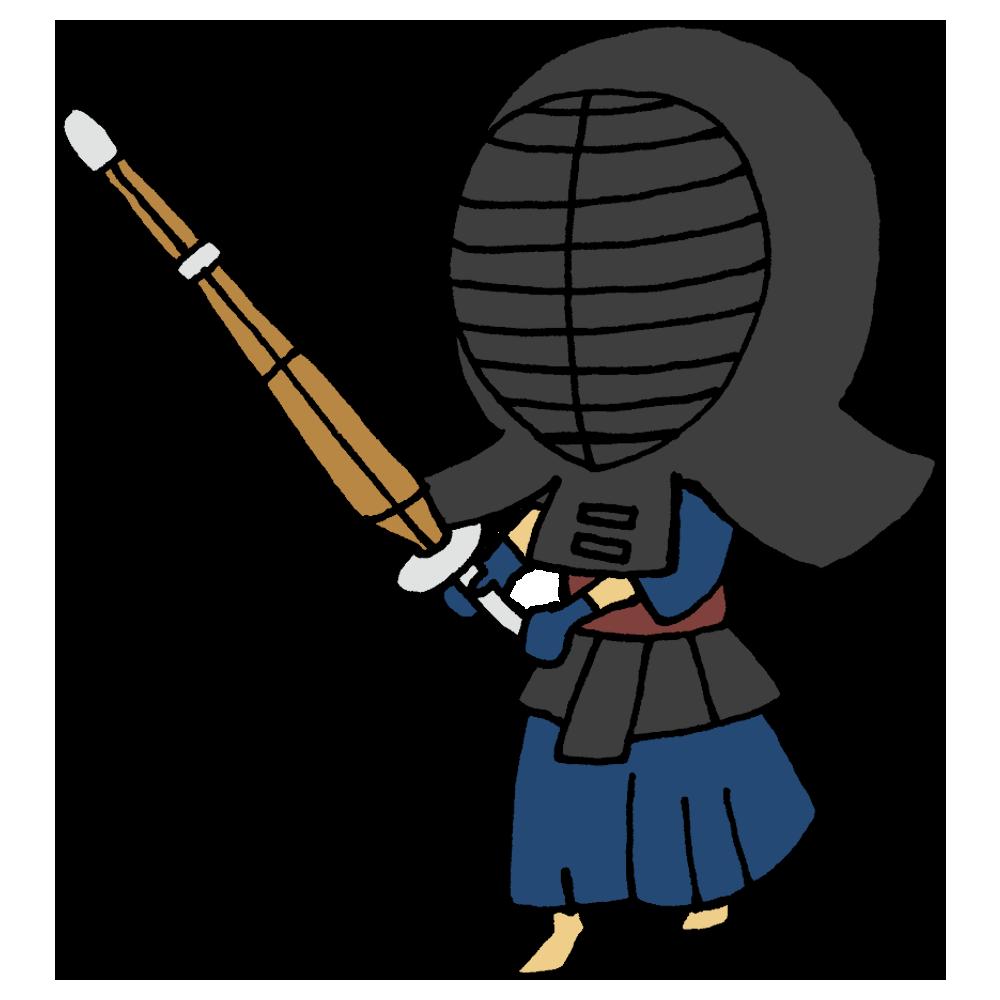 剣道の面を被った男の子のフリーイラスト