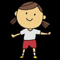 手書き風,人物,女の子,ツインテール,体操,運動,準備体操,ラジオ体操,スポーツ,体育,授業,学校,ブンブン,振る,両腕を上下に振る