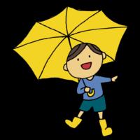 手書き風,人物,長靴,雨,梅雨,傘,かさ,ながぐつ,6月,7月,傘をさす,あめ,雨の日,天気が悪い,男の子