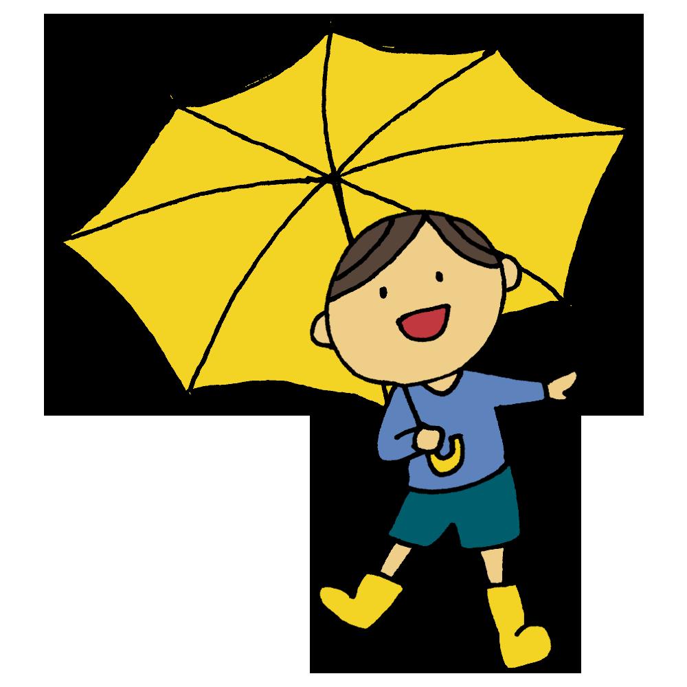 長靴を履いて傘をさす男の子のフリーイラスト