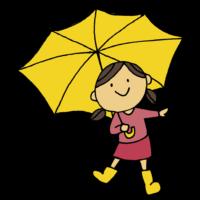 手書き風,人物,長靴,雨,梅雨,傘,かさ,ながぐつ,6月,7月,傘をさす,あめ,雨の日,天気が悪い,女の子