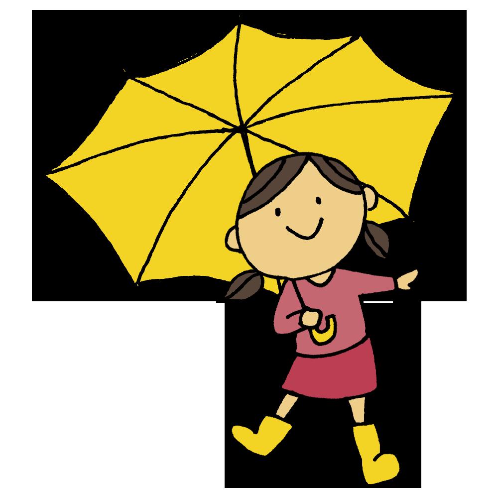 長靴を履いて傘をさす女の子のフリーイラスト