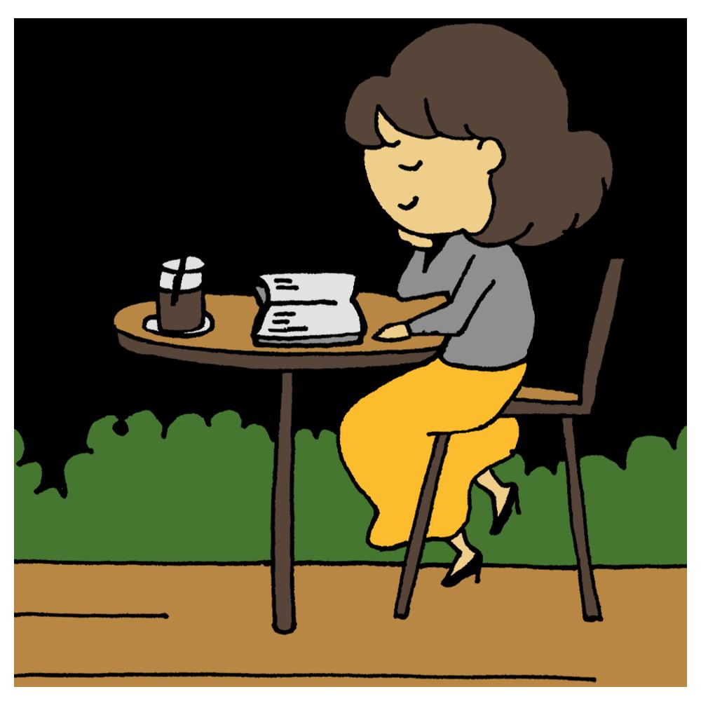 カフェで読書をする女性のフリーイラスト