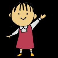 手書き風,バイバイ,さようなら,お別れ,またね,人物,女の子,幼女,幼い,子供,幼稚園児,手を振る,手,また明日,解散,終了,終わり,ワンピース