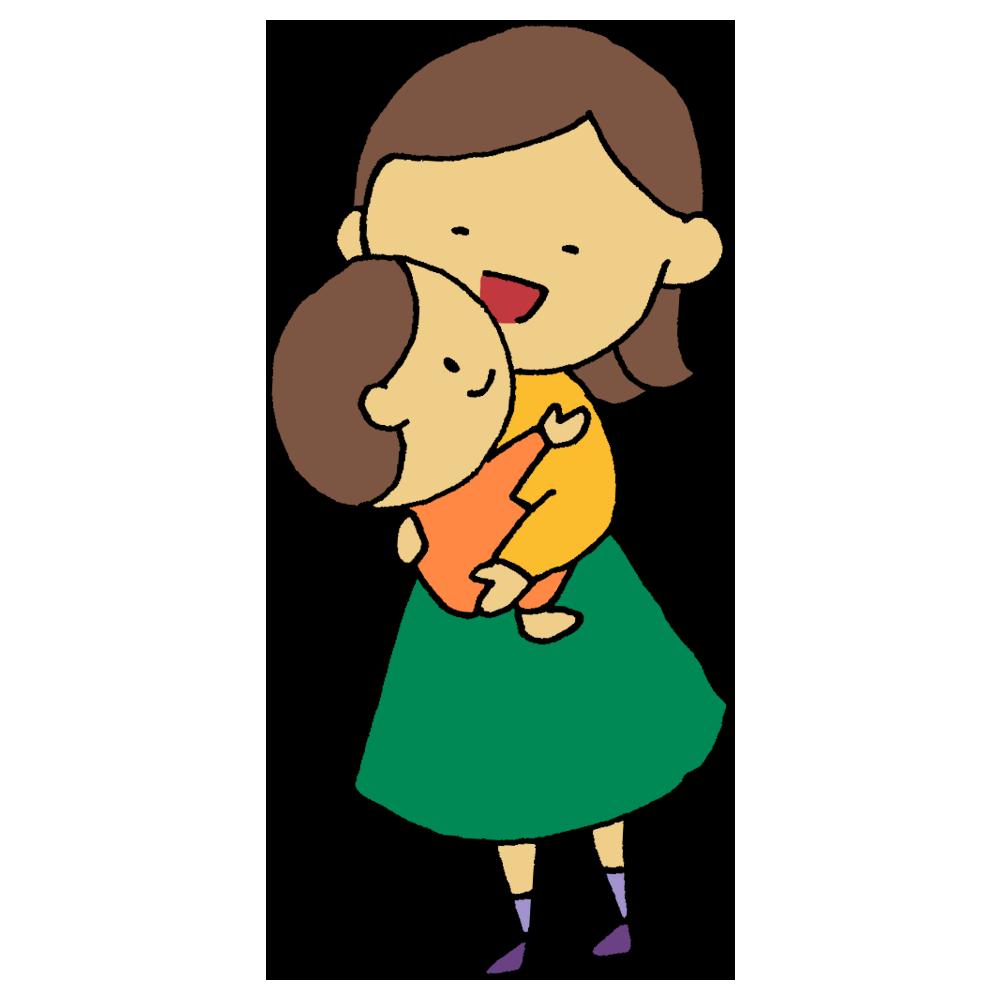 立って赤ちゃんを抱っこする女性のフリーイラスト